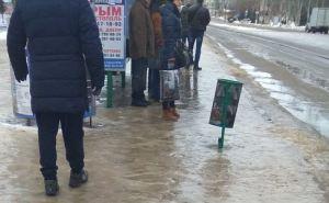 28января в Луганске мокрый снег, сильный гололед, снежные накаты