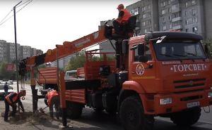 В Луганске установят до конца ноября 60 уличных электрических столбов. ВИДЕО