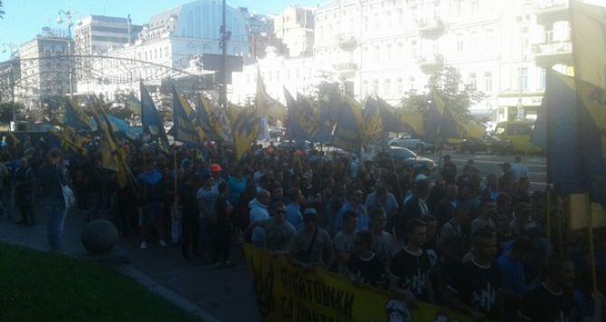 «Азов» и шахтеры в Киеве вышли на протестное шествие