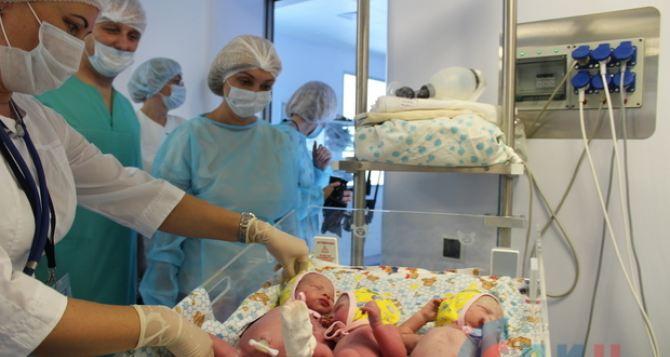 В Луганске родилась тройня. Два мальчика и девочка.