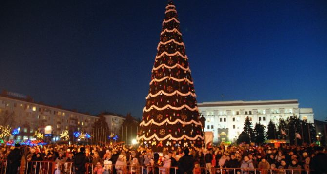 Праздничные огни зажглись на главной новогодней елке Луганска