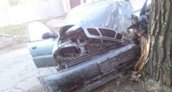 В Луганске автомобиль врезался в дерево, водитель погиб