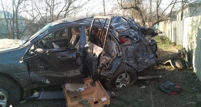 Элитный внедорожник ночью в Марковке столкнулся с электроопорой и деревом. Двое погибших, двое госпитализованы. ФОТО