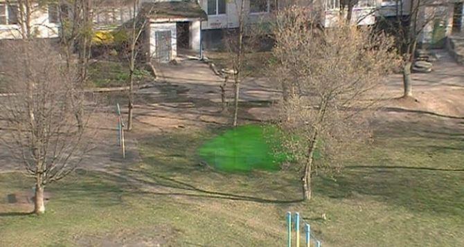В Лисичанске возле жилых домов внезапно возникло озеро изумрудного цвета