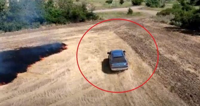 На видео попали возможные виновники пожаров в Луганской области