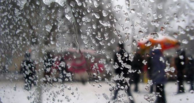 В Луганске 9января сильный дождь со снегом, температура до 4-х градусов тепла