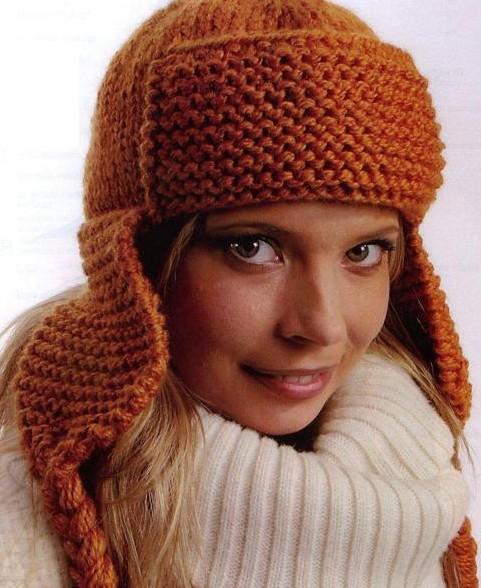 Как связать зимнюю женскую шапку ушанку