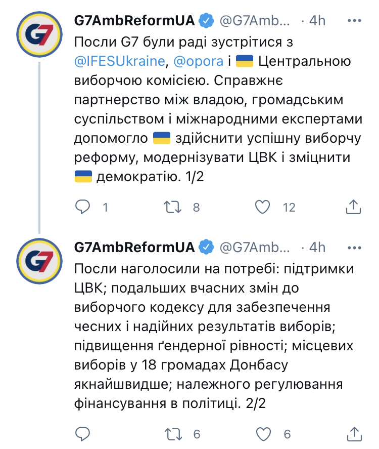 Твиттер G7 реформы Украина ЦИК